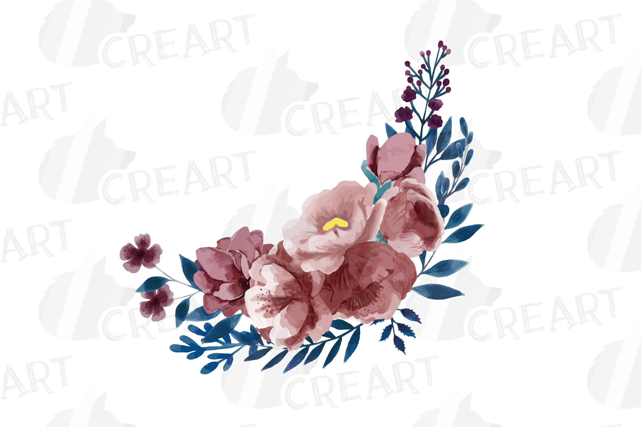 Navy blue and blush pink floral watercolor bouquets clip art example image 15
