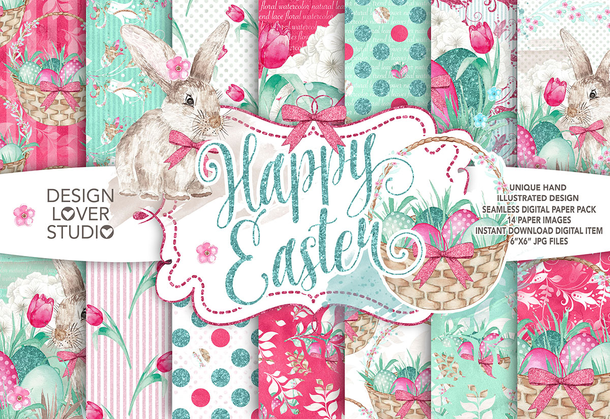 Watercolor Happy Easter digital paper pack I. example image 1