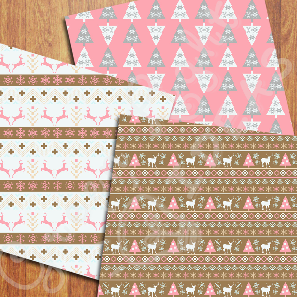 Nordic Christmas Digital Papers, Holidays Backgrounds, Scandinavian Papers example image 2