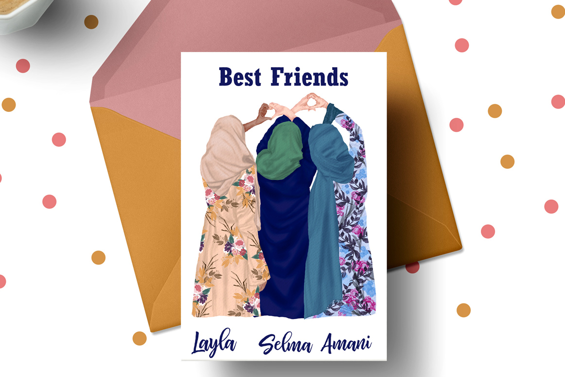 Muslim women clipart, Muslim Girls, Hijab clipart, Besties example image 2