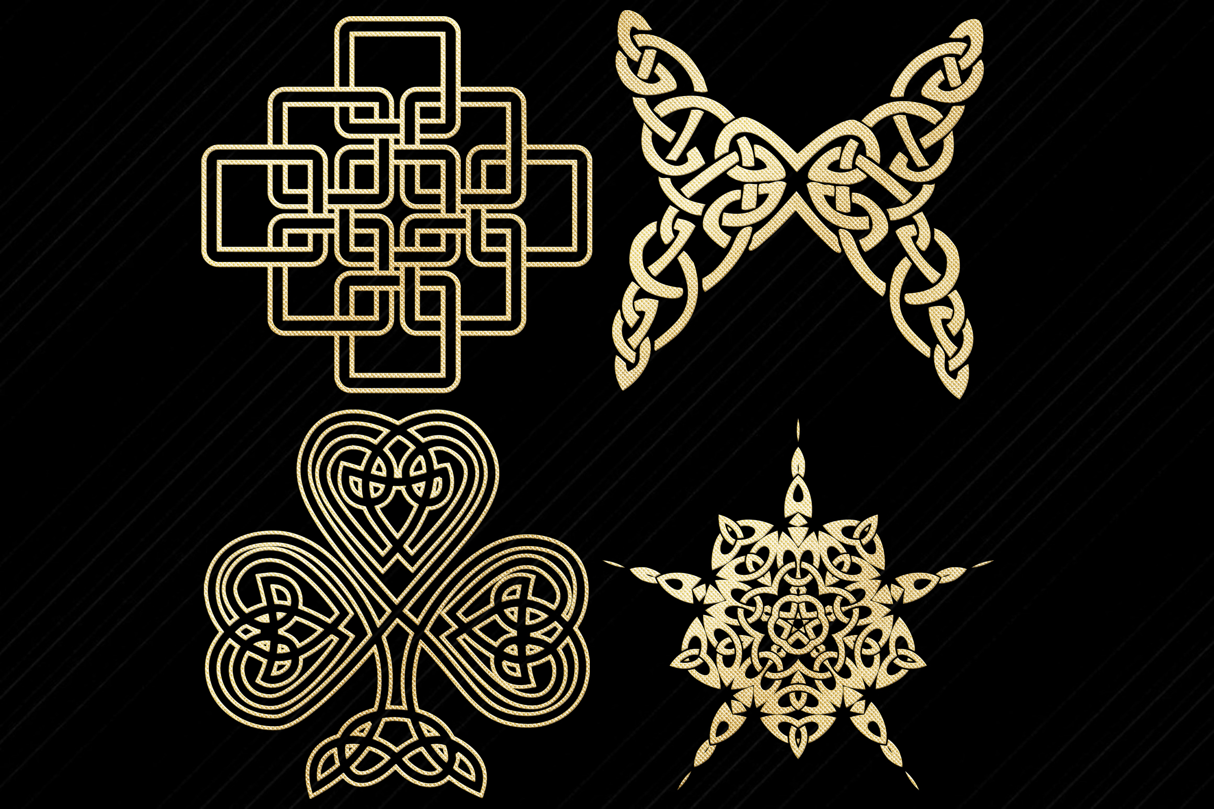 Gold Foil Celtic Symbols, Knots, Crosses Clip Art example image 5