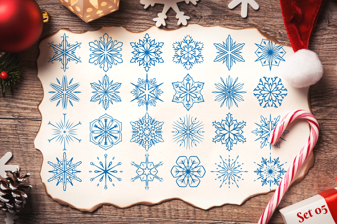 500 Snowflake Vector Ornaments example image 11