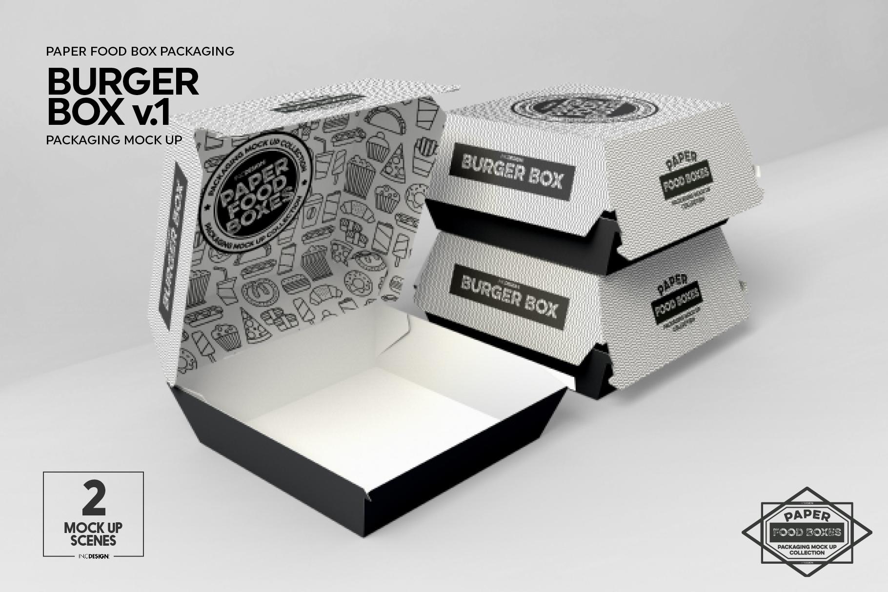 Burger Box Packaging Mock Up v1 example image 4
