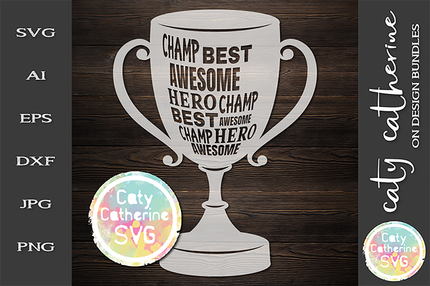 Champ Best Hero Awesome Trophy SVG Cut File example image 1