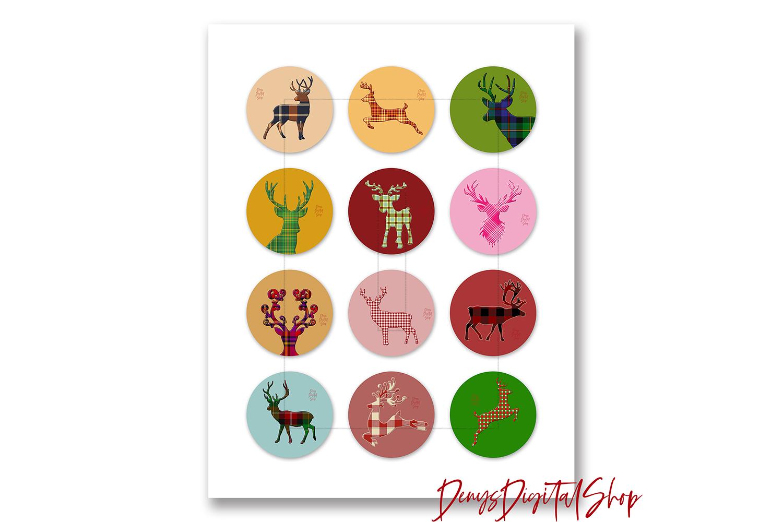 Digital Collage Sheet,Reindeer Bottle caps,Reindeer Cabochon example image 2
