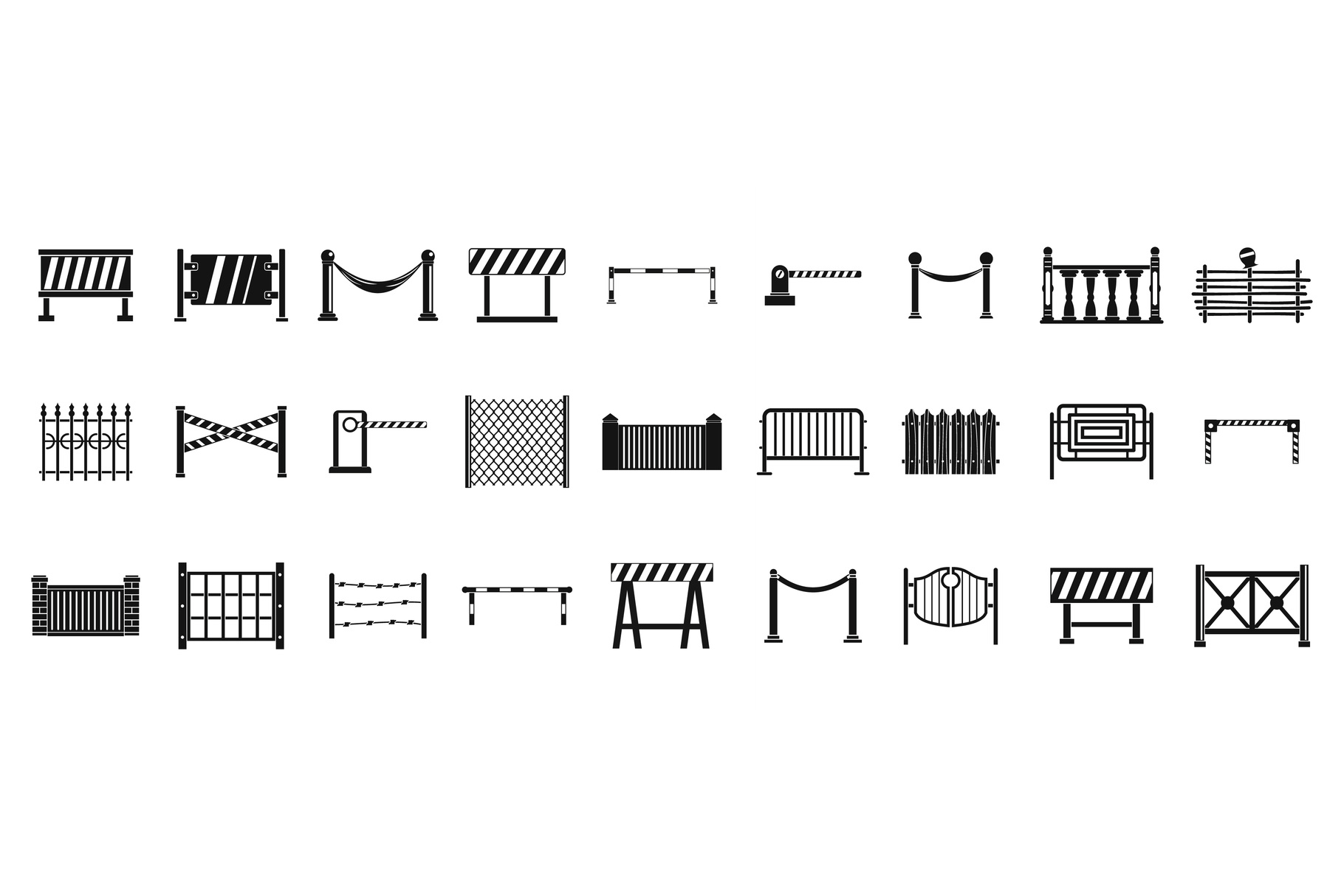 Barrier icon set, simple style example image 1