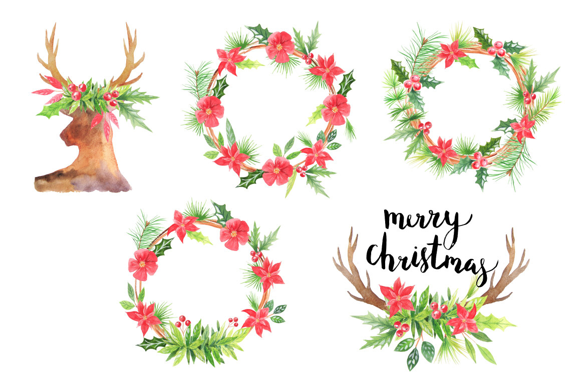 Watercolor Christmas Wreathes example image 2