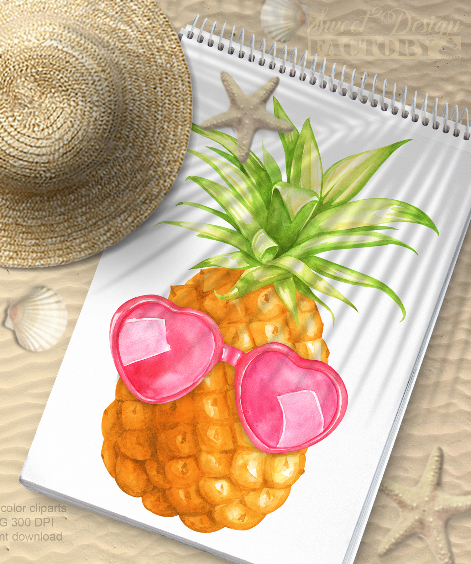 Watercolor pineapple clipart example image 6