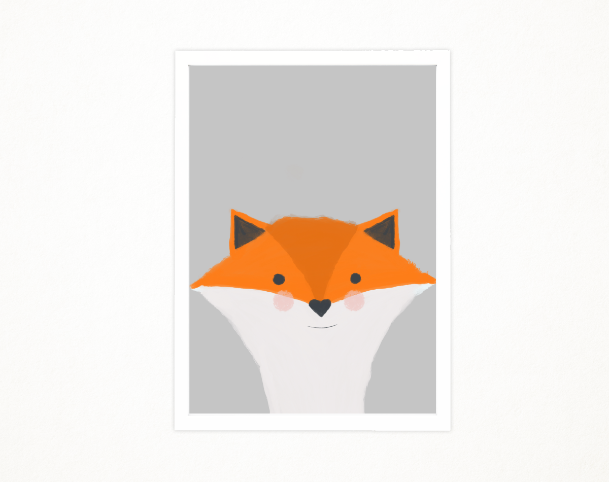 Handmade Little fox art printable in A4 to decor an special place. Baby's room, kids room. Illustration, printing. Ready to print. example image 1