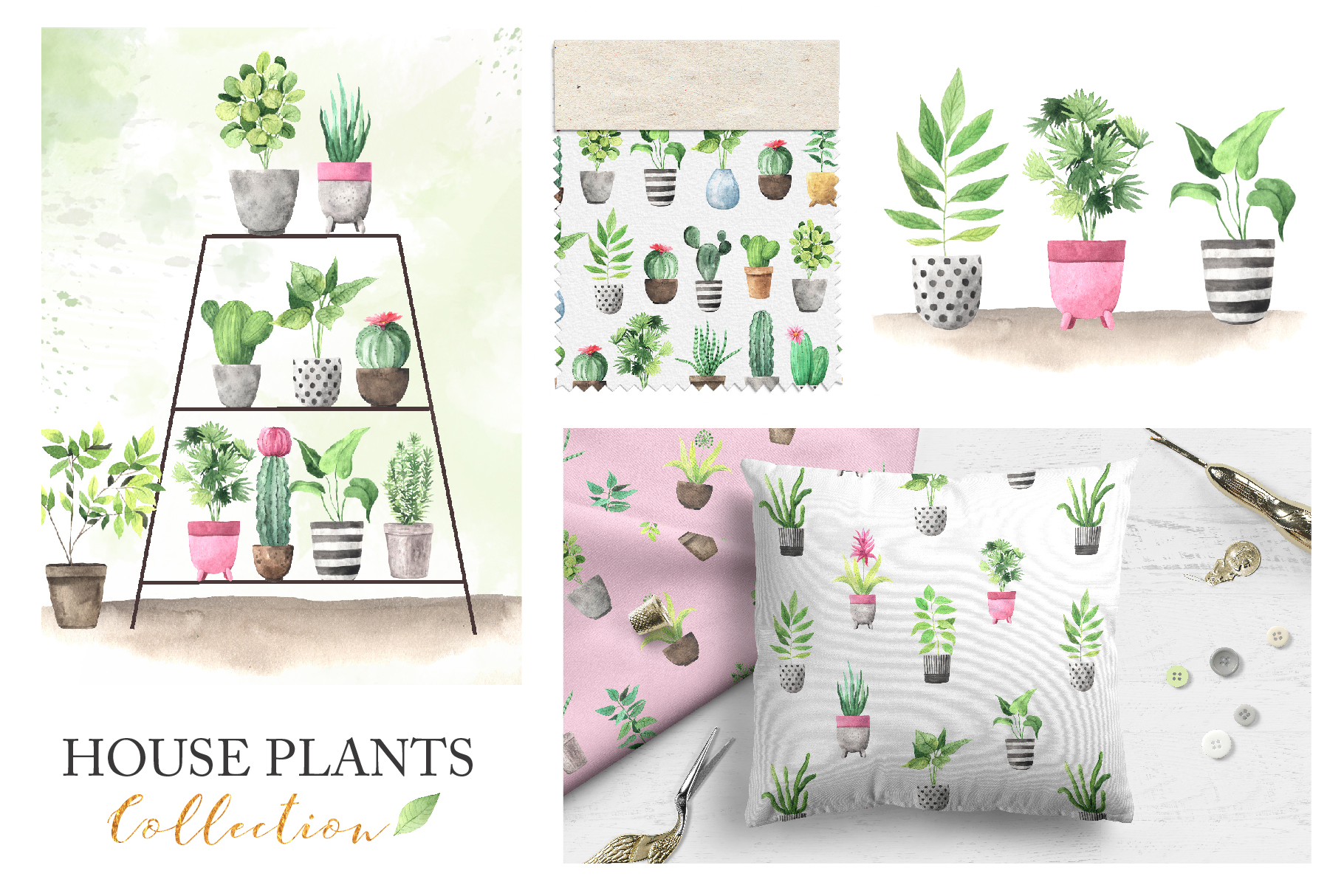 Watercolor House Plants Collection example image 8