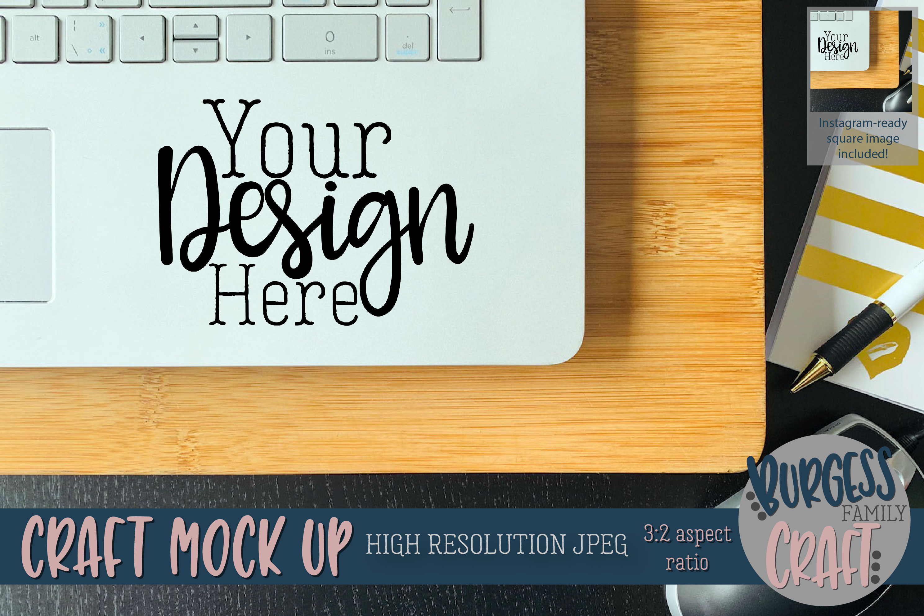 Laptop decal Craft mock up |High Resolution JPEG example image 1