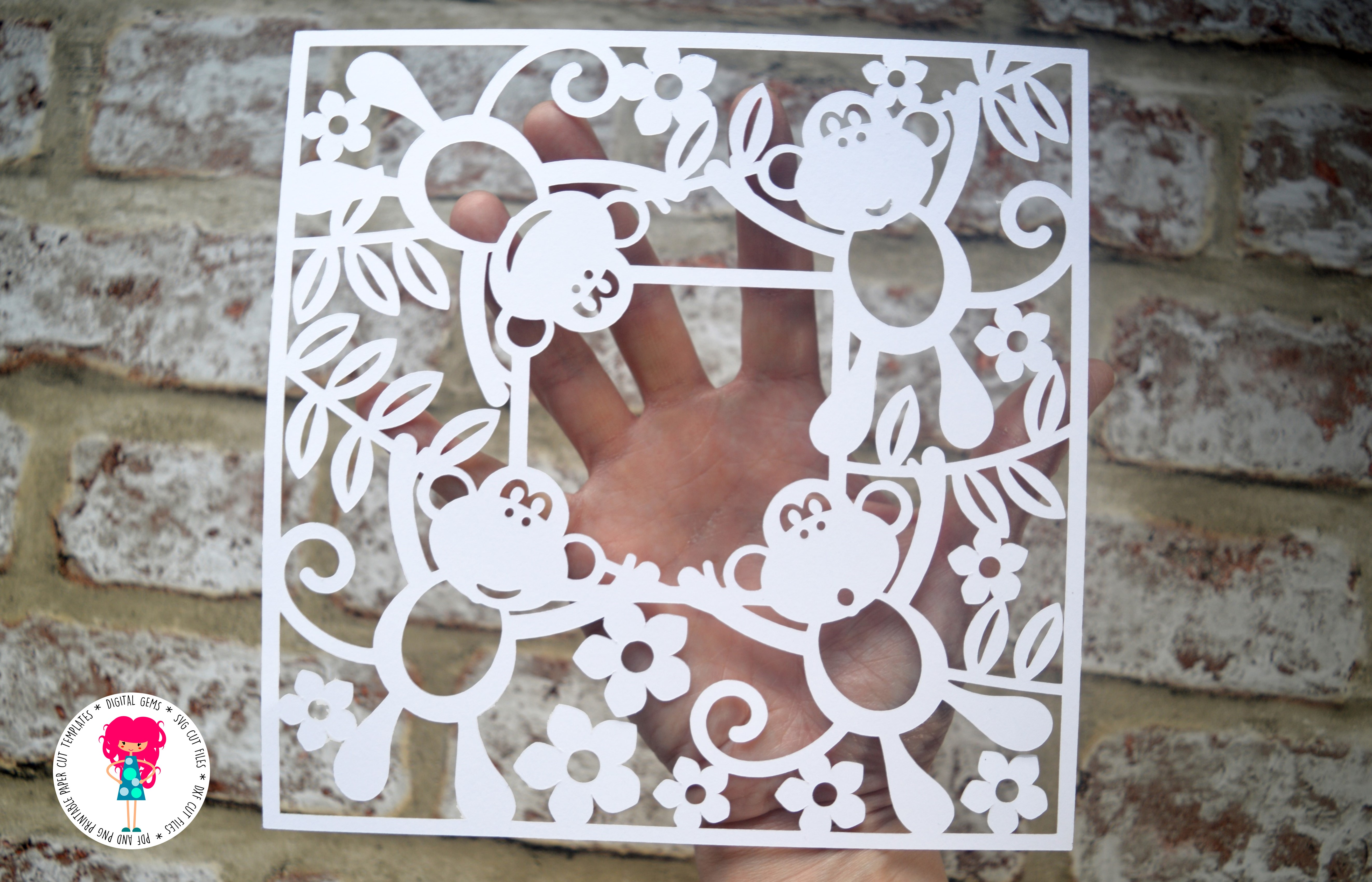 Monkey Frame paper cut SVG  DXF  EPS files example image 2