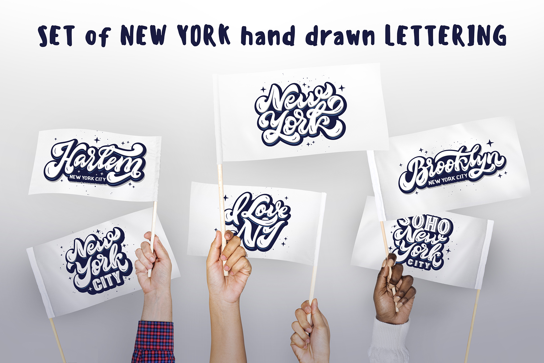 Set of New York hand drawn lettering example image 3