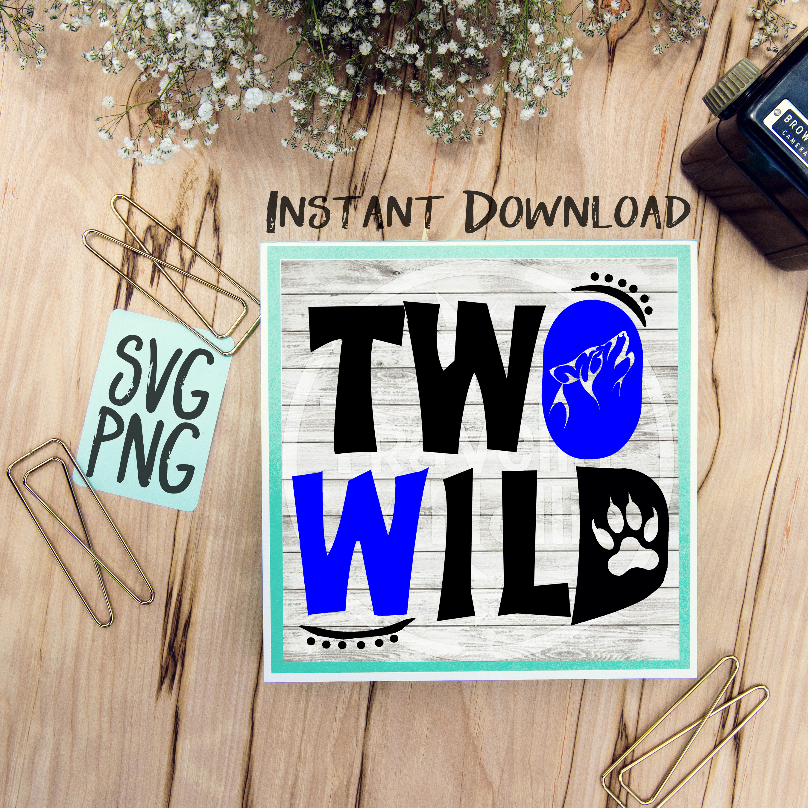 Two Wild Second Birthday SVG Image Design for Vinyl Cutters Print DIY Design Brother Cricut Cameo Cutout  example image 1