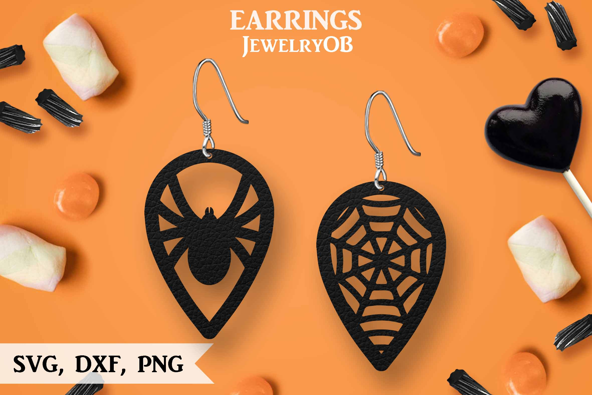 Halloween Earrings, Cut File, SVG DXF PNG Formats, Spider example image 1