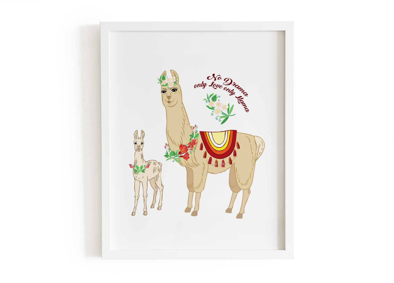 Llama Clipart with red flowers example image 3