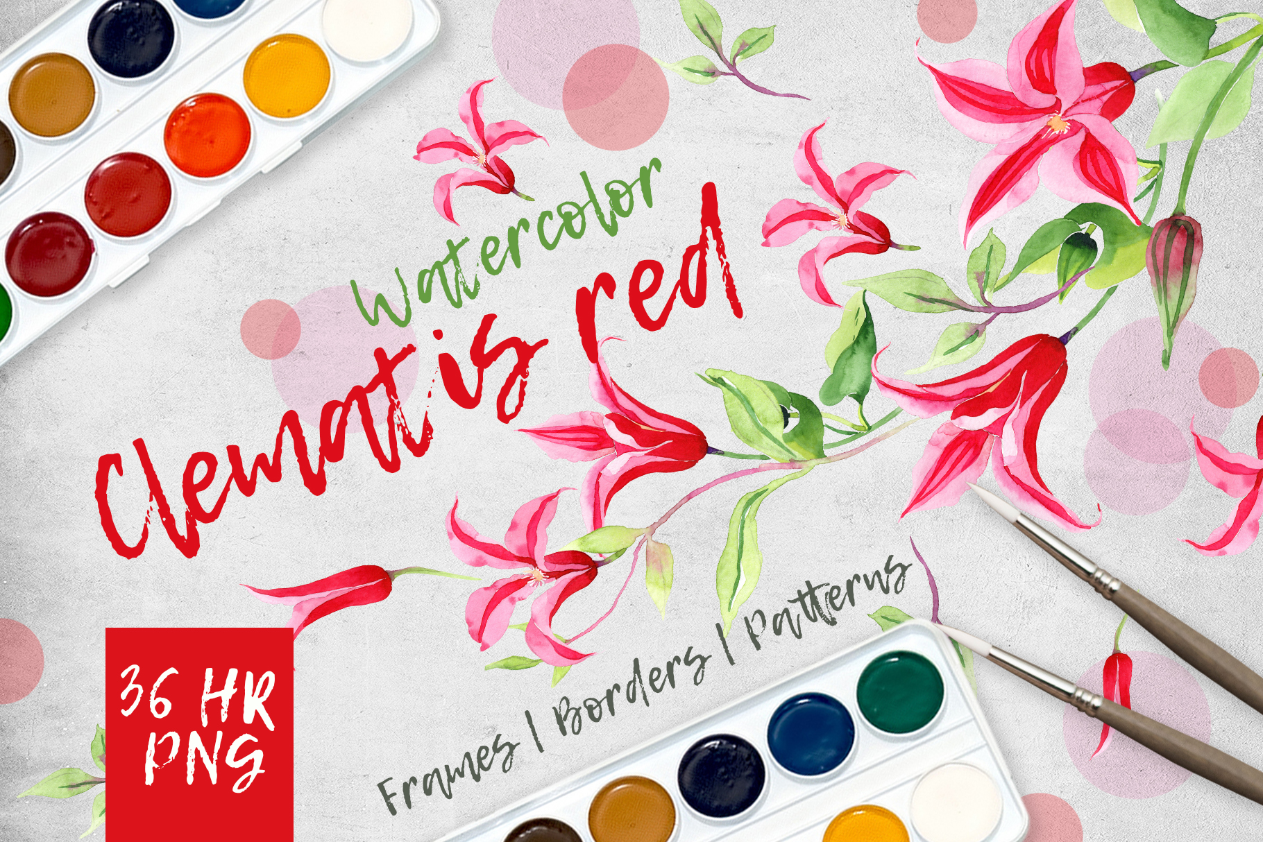 Clematis red PNG watercolor flower set  example image 1