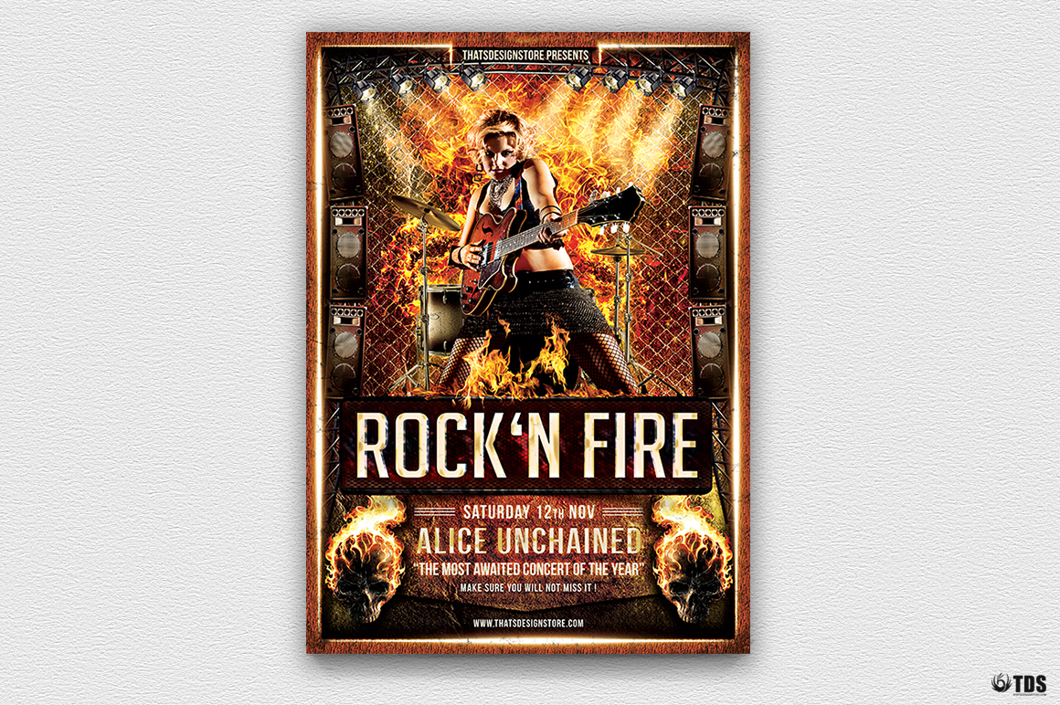 Rock'N Fire Live Flyer Template example image 3