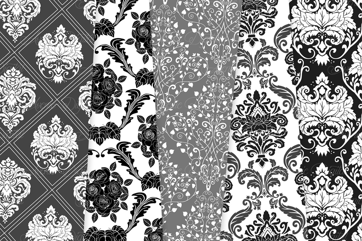 Black and White Damask Patterns - Seamless Digital Papers example image 7