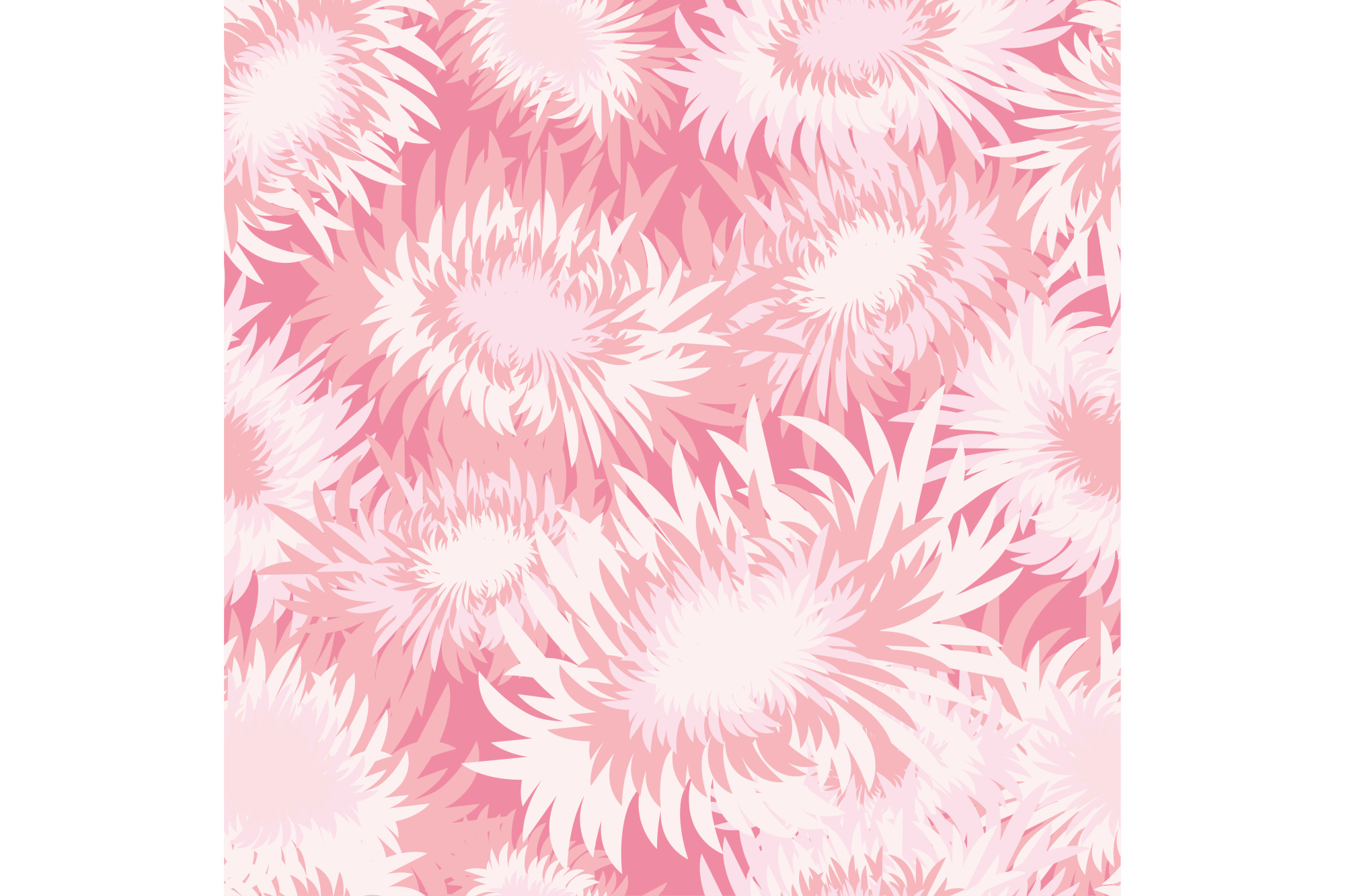 Seamless decorative vector background with chrysanthemums. example image 1