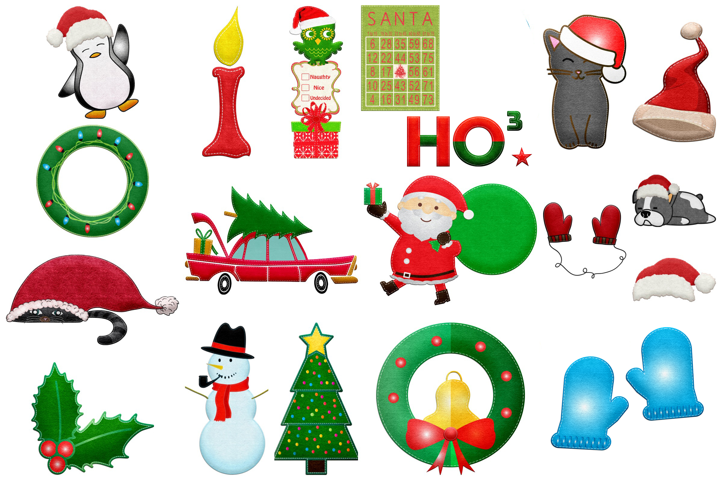 Christmas Felted Elements Clip Art example image 4