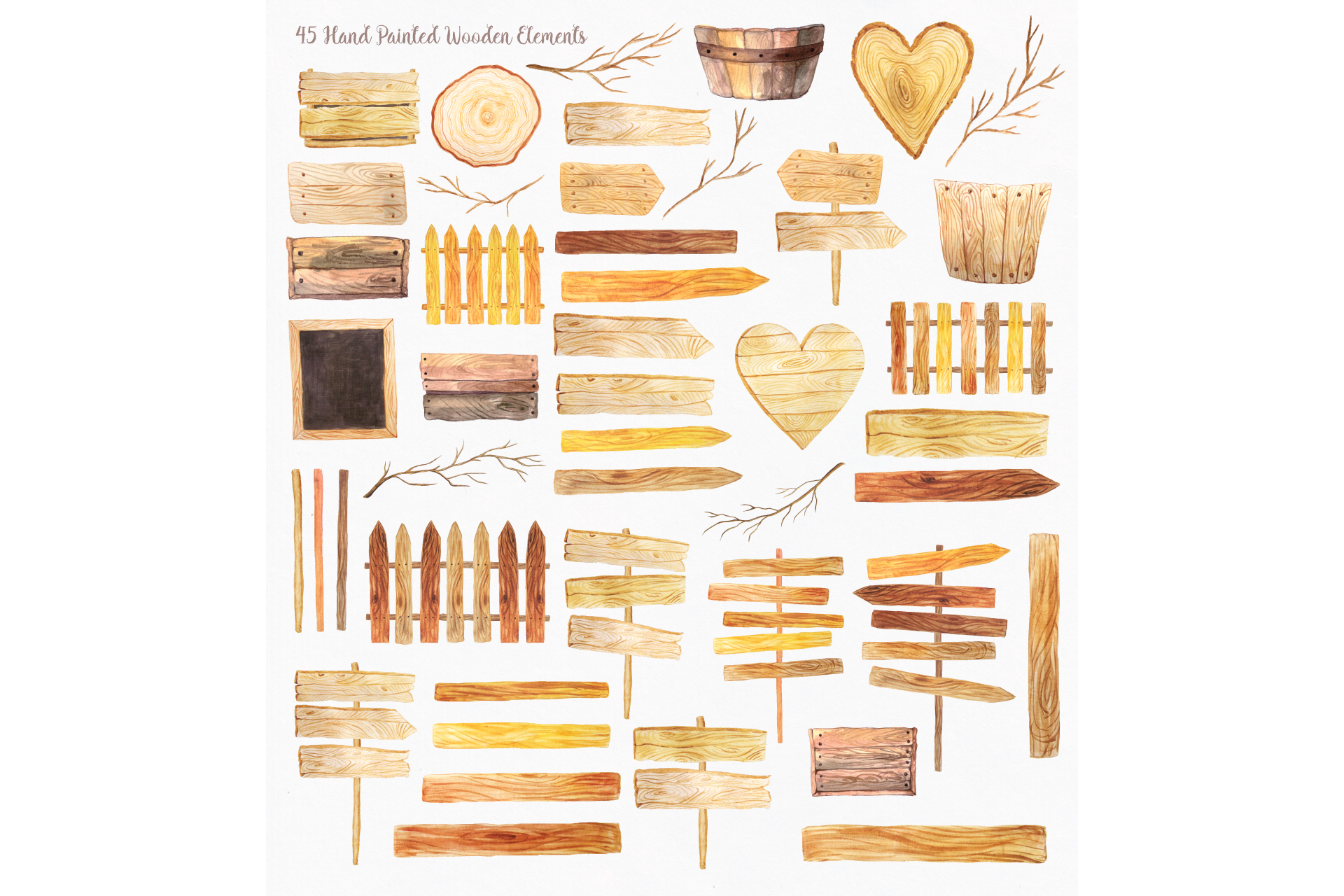 Watercolor Wooden Design Set example image 2