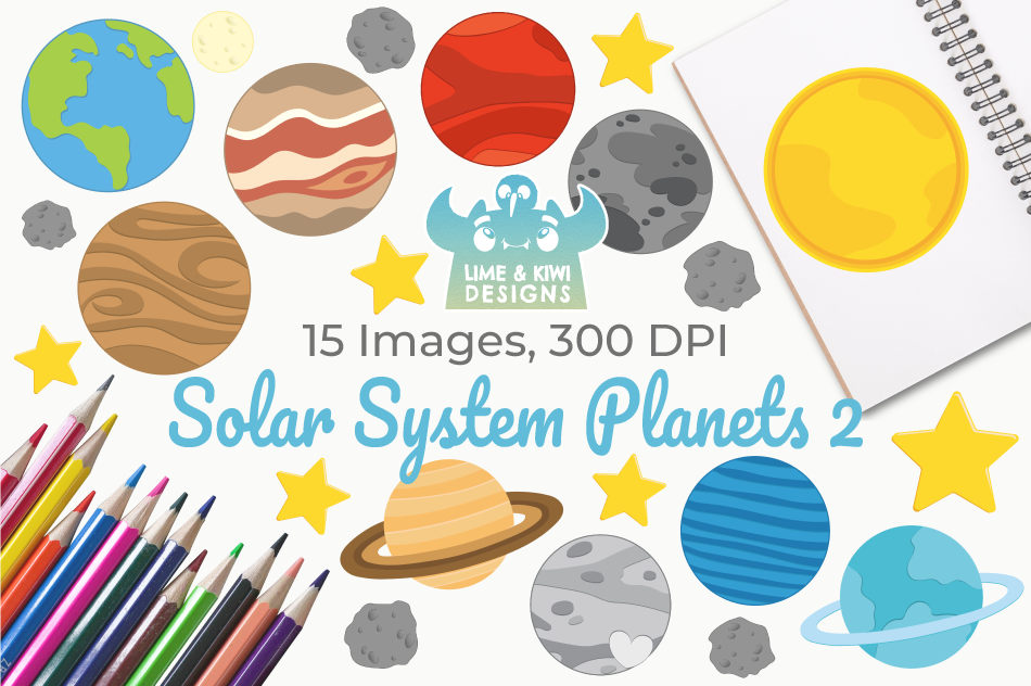 Solar System Planets 2 Clipart, Instant Download Vector Art example image 1