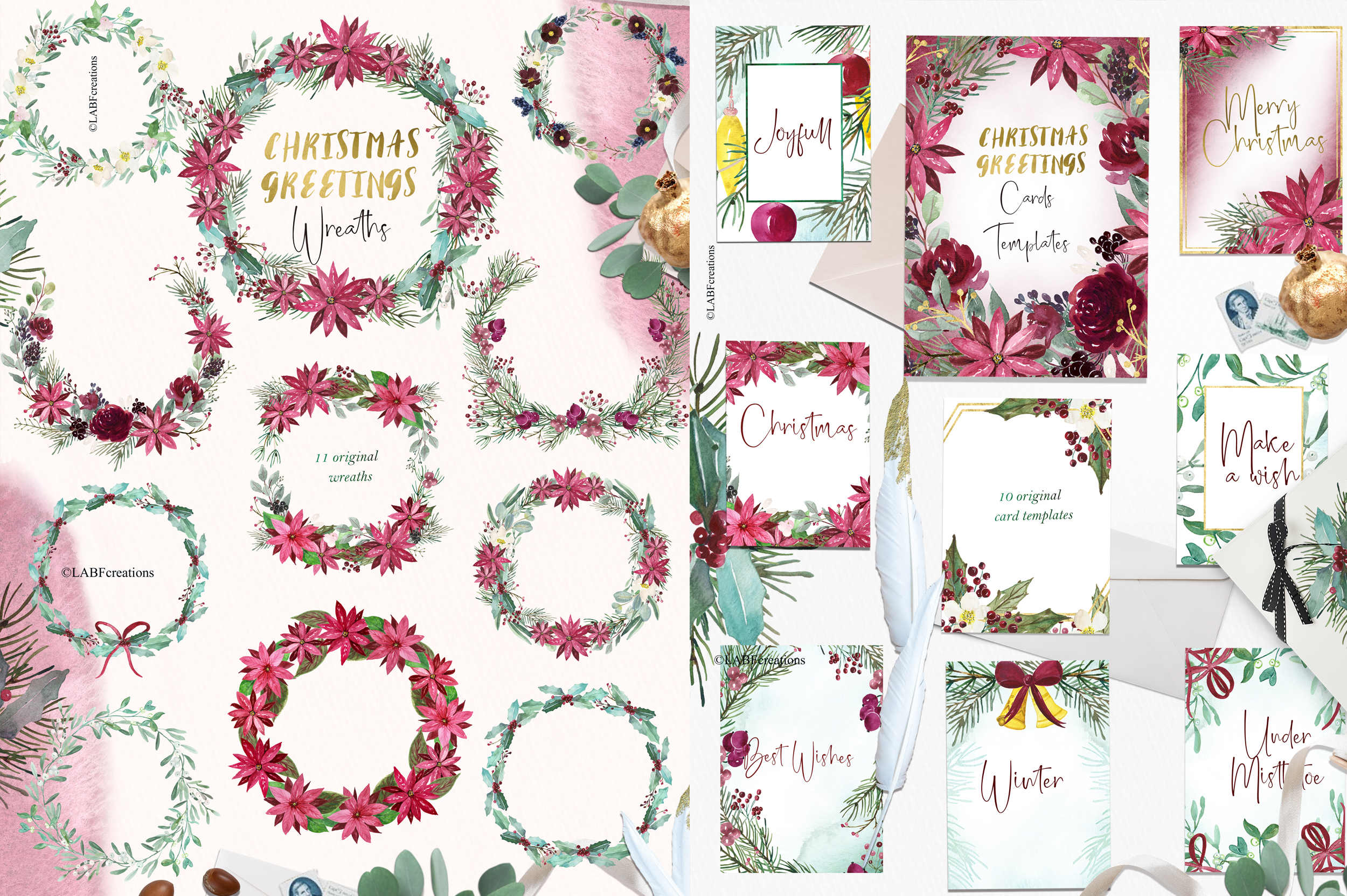 Christmas greetings. Hand drawn watercolor collection. example image 1