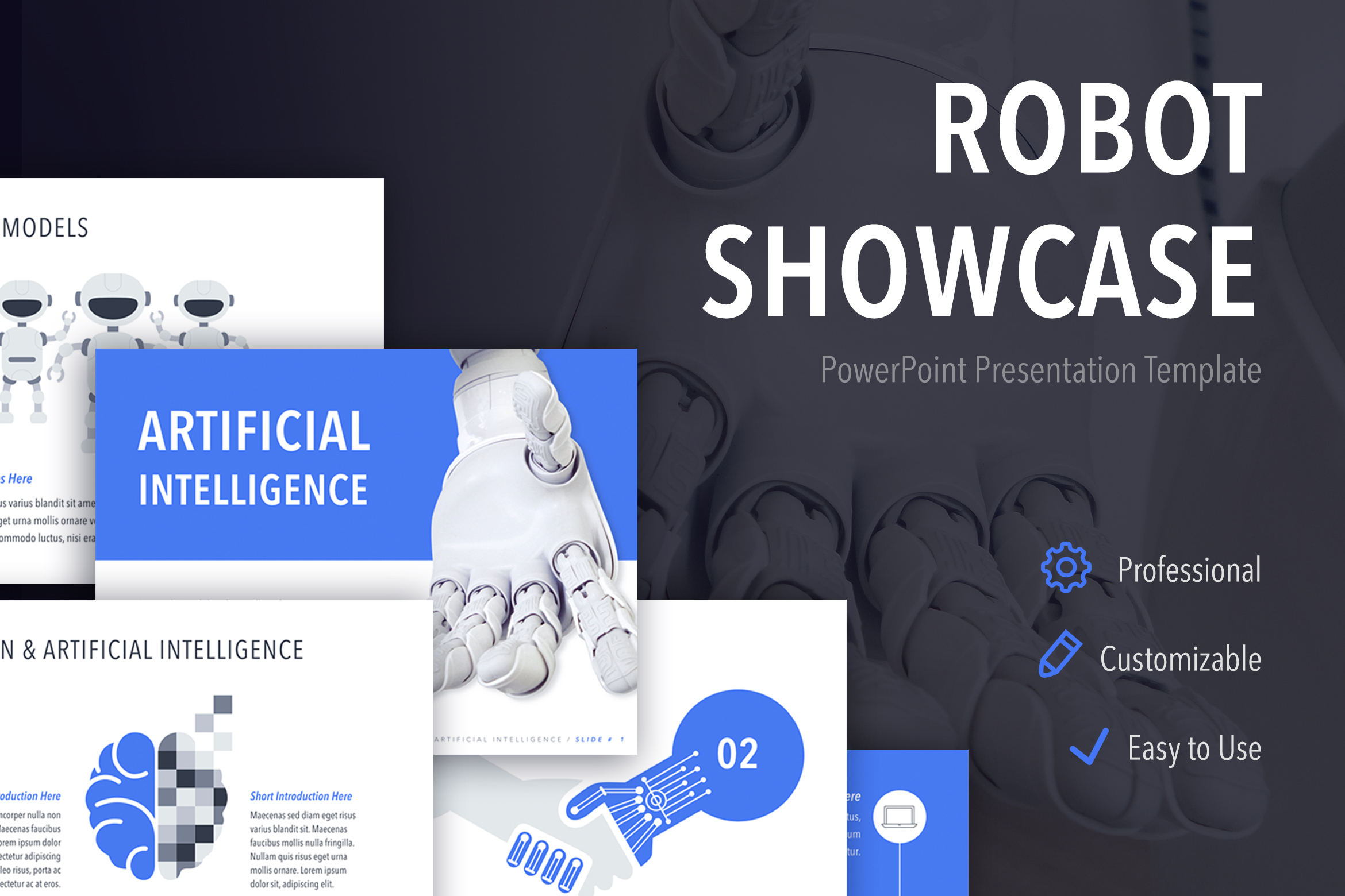 Robot Showcase PowerPoint Template example image 1