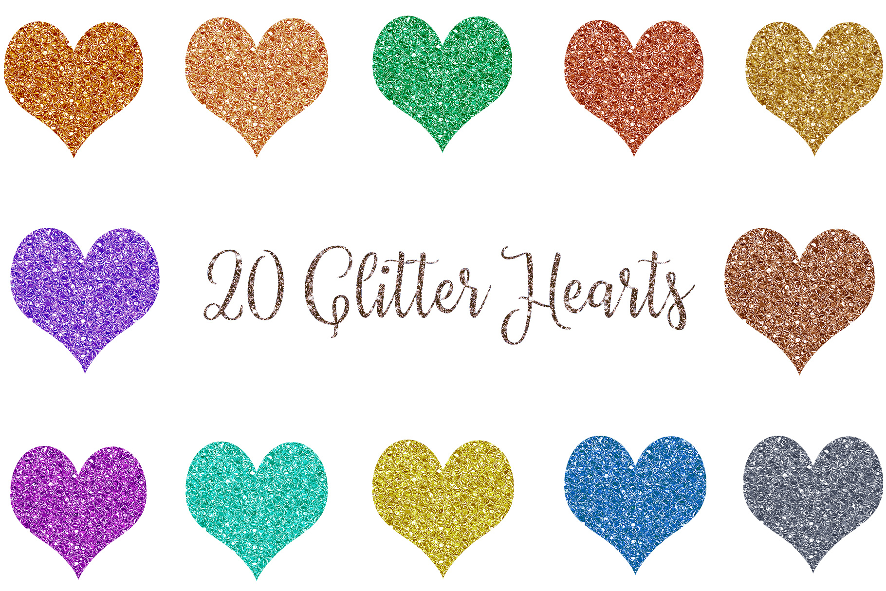 Glitter Heart Clipart, Sparkles Heart Clipart example image 1