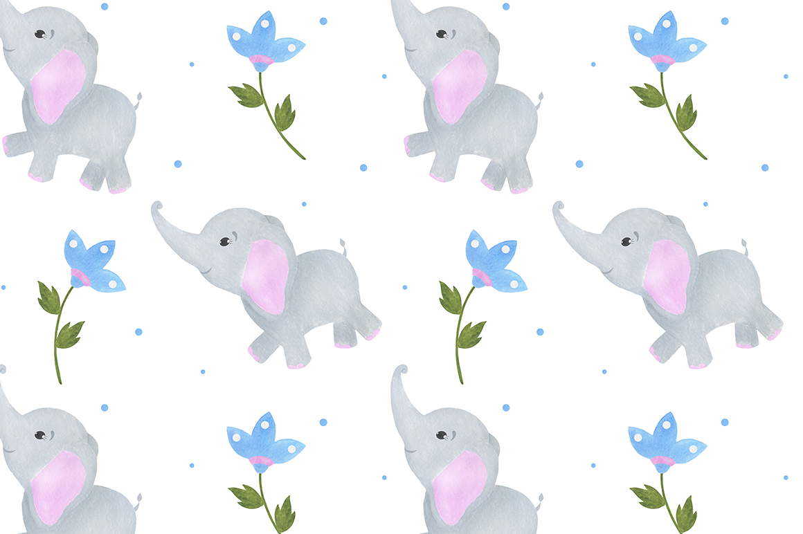 Set of illustrations of a cute little watercolor elephant example image 8