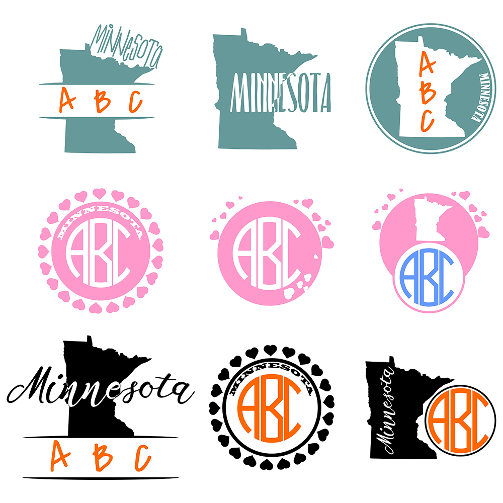 Minnesota Monograms SVG, JPG, PNG, DWG, CDR, EPS, AI example image 2