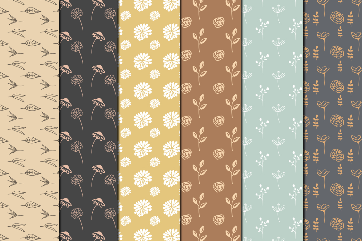 Hand Drawn Floral Digital Papers example image 2