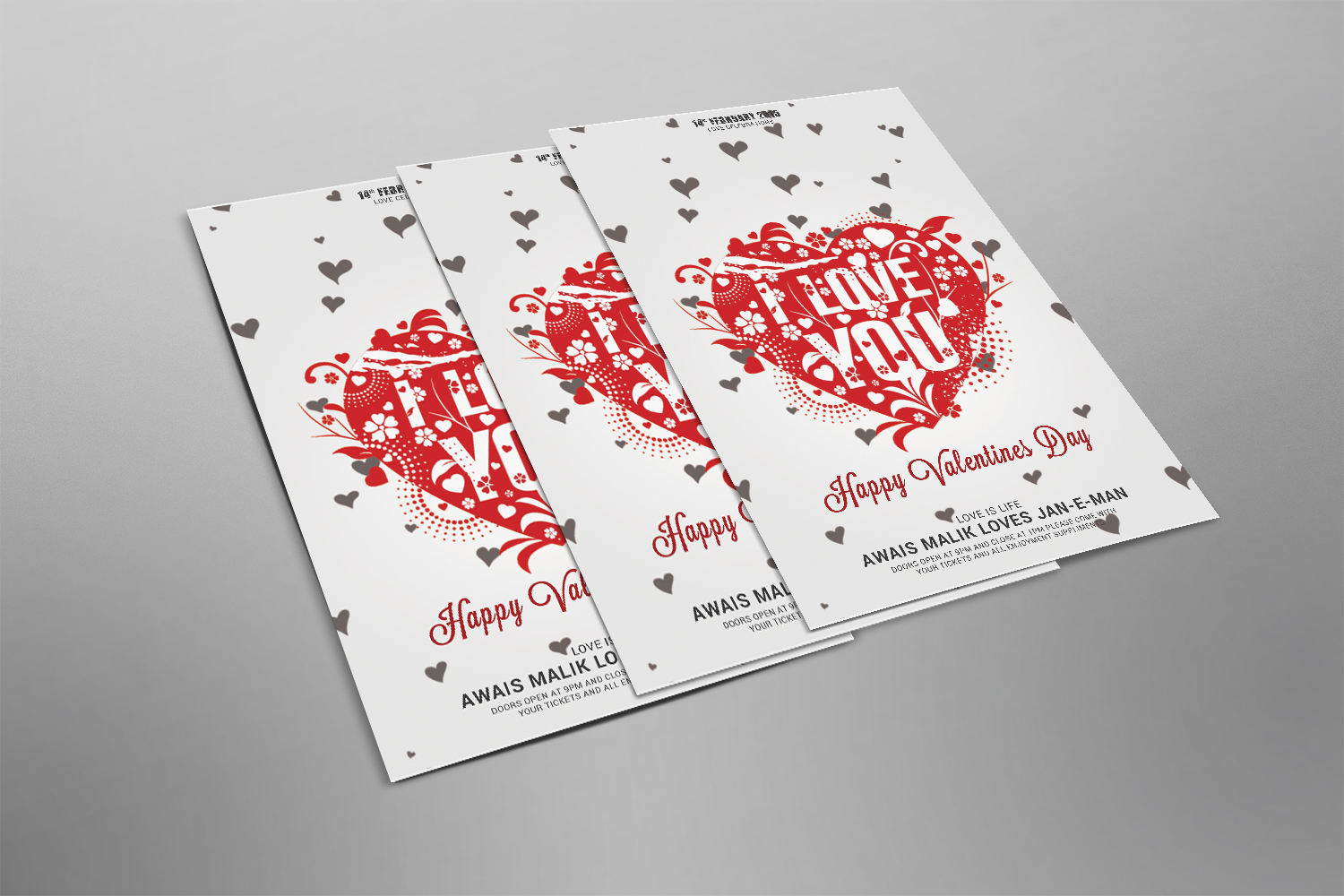 Valentines Psd Flyer example image 2