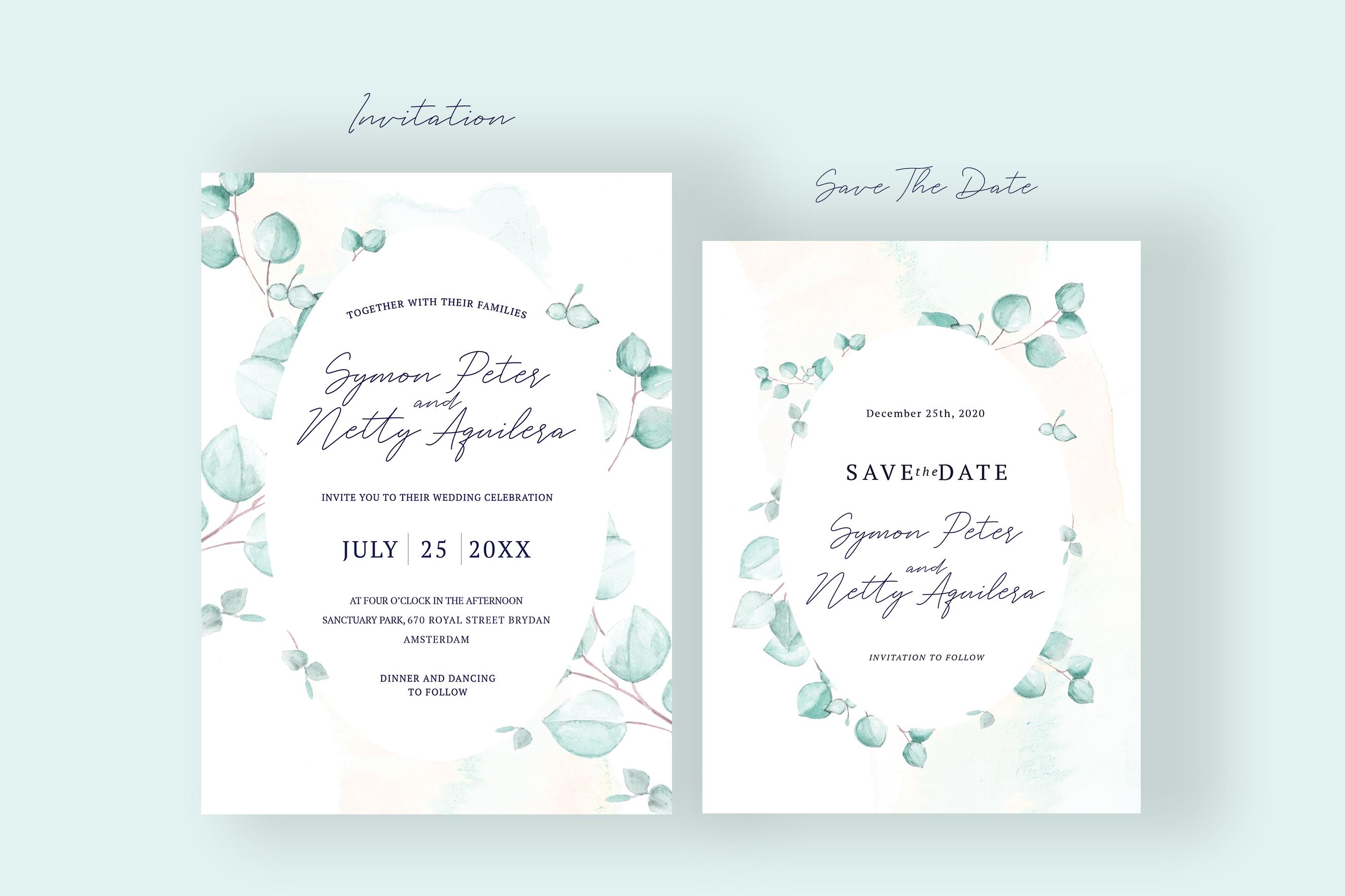 Watercolor Eucalyptus Wedding Suite example image 2