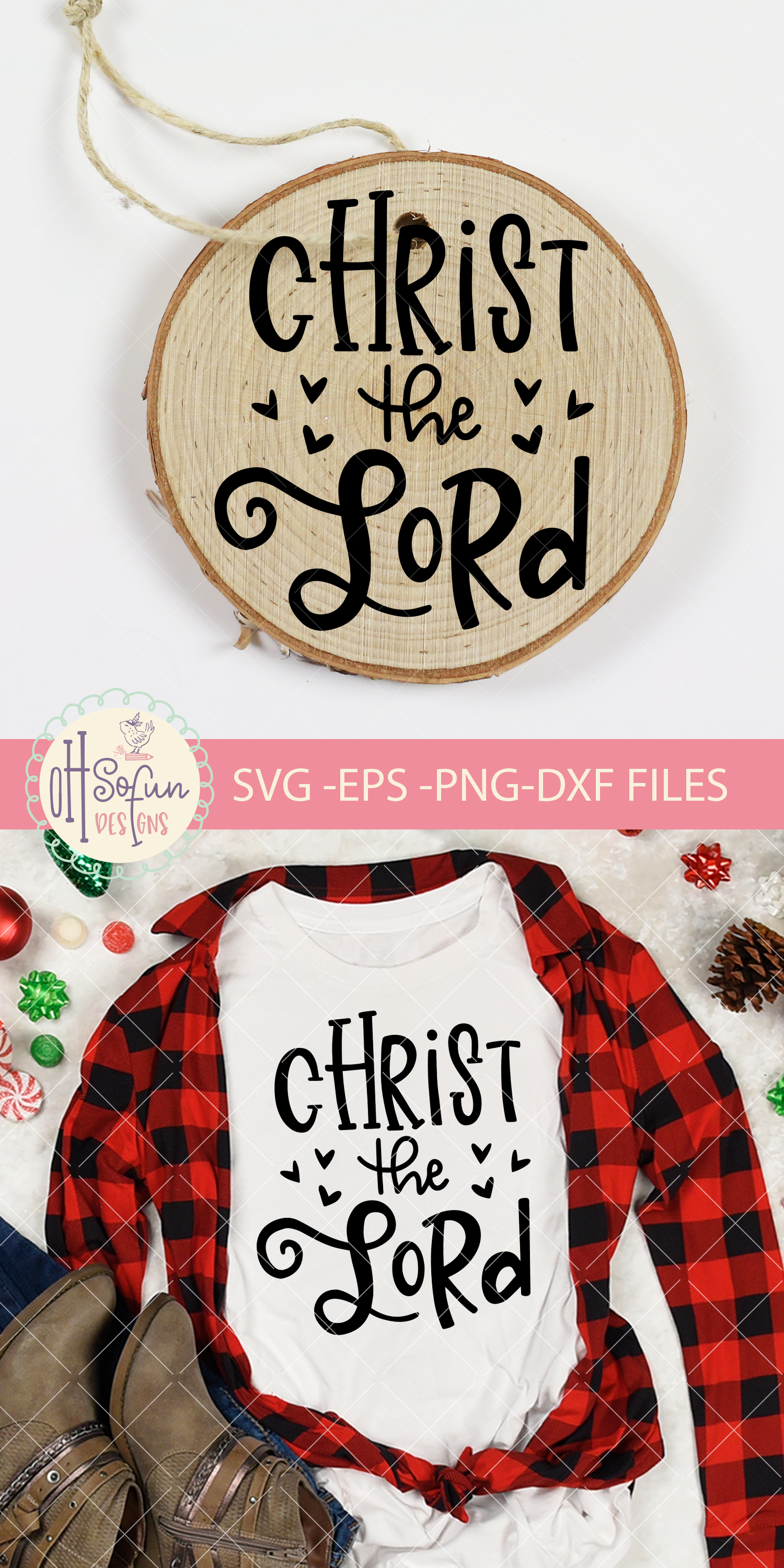 Christ the lord, hand lettering Christmas ornament SVG example image 2