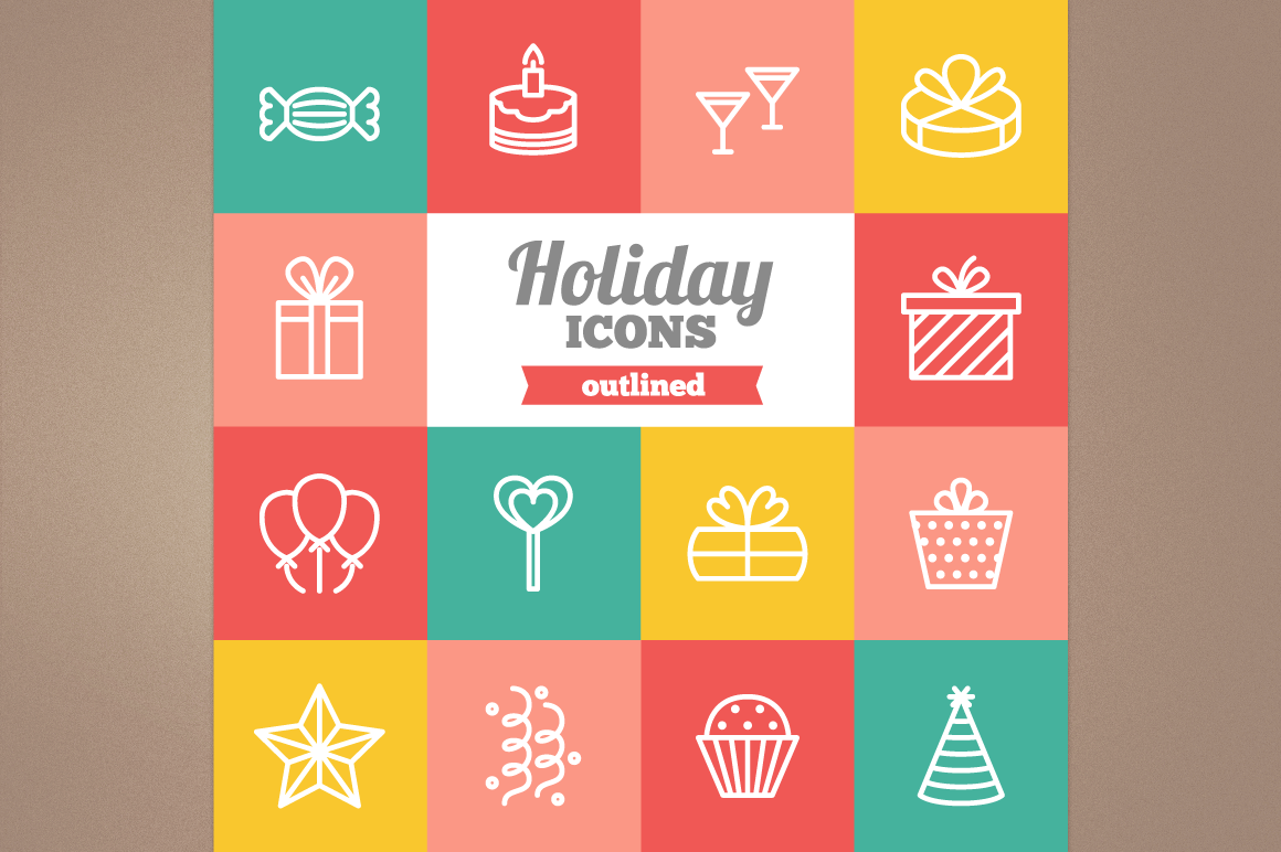 Outlined Holiday Icons example image 1