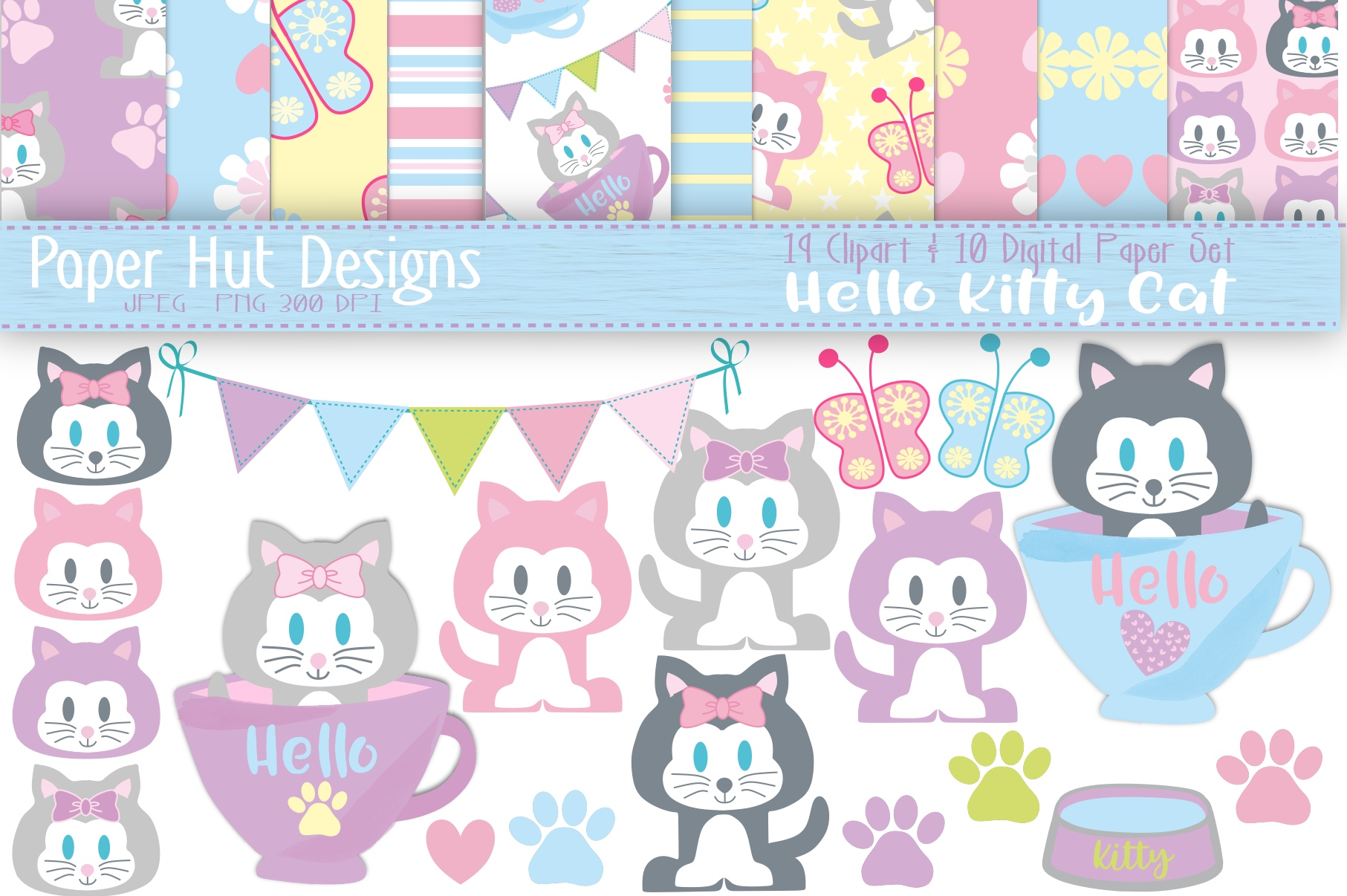 Cat Clipart and Digital Papers Set example image 1