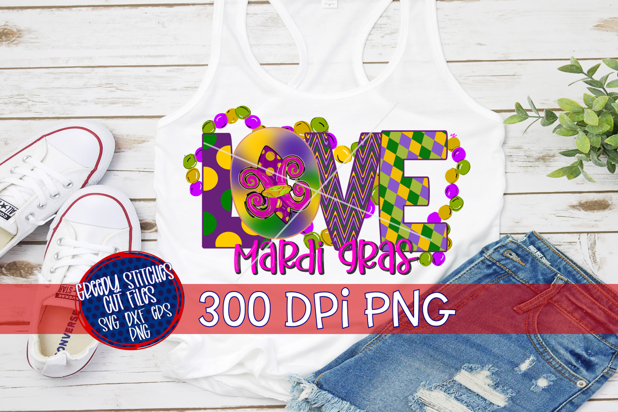 LOVE Mardi Gras Watercolor PNG For Sublimation example image 3