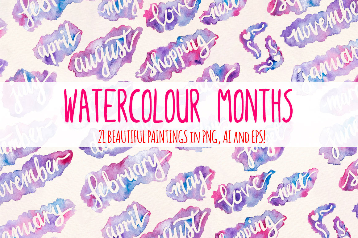 21 Month Titles Watercolors Splash Graphics example image 2