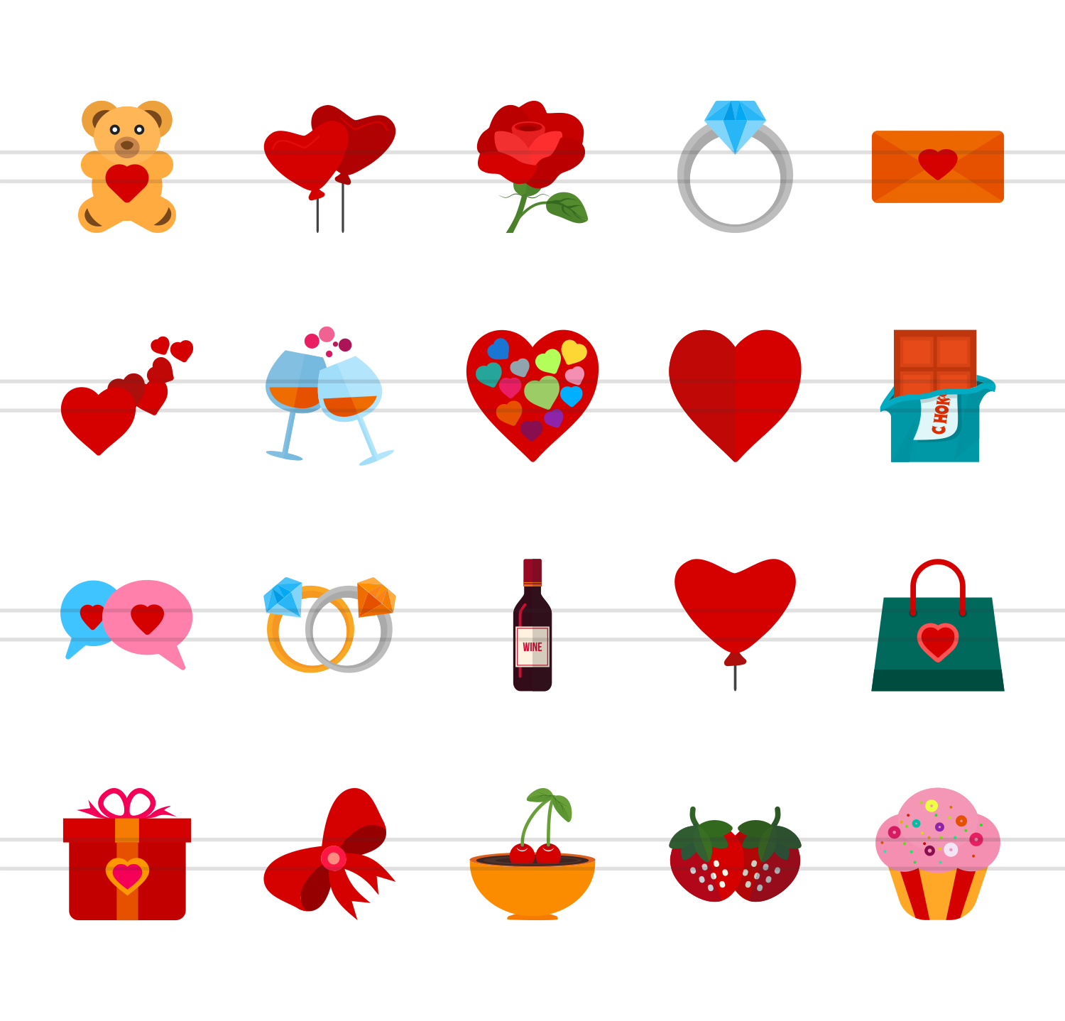 20 Valentine Flat Multicolor Icons example image 2