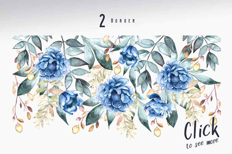 Blue - Floral Watercolor Collection example image 9