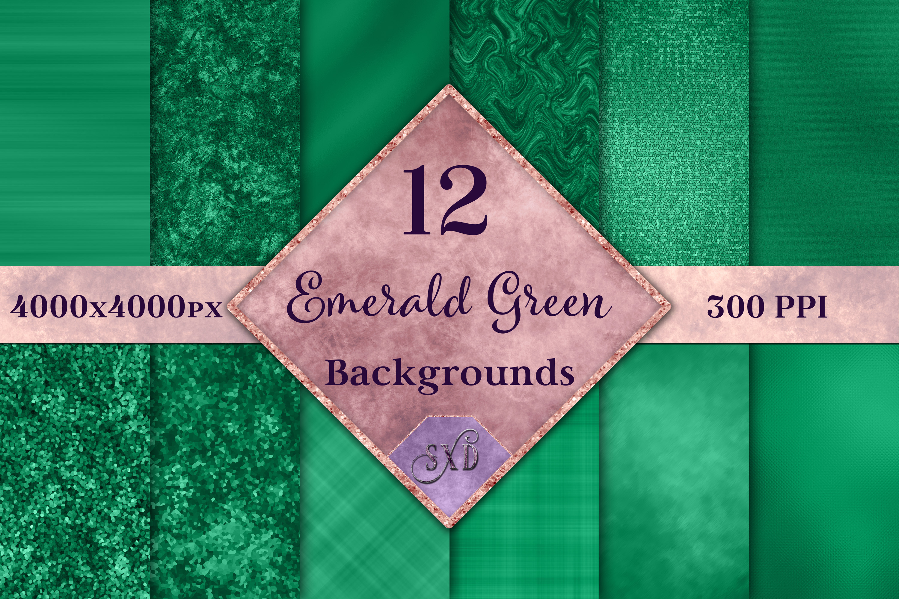 Emerald Green Backgrounds - 12 Image Textures Set example image 1