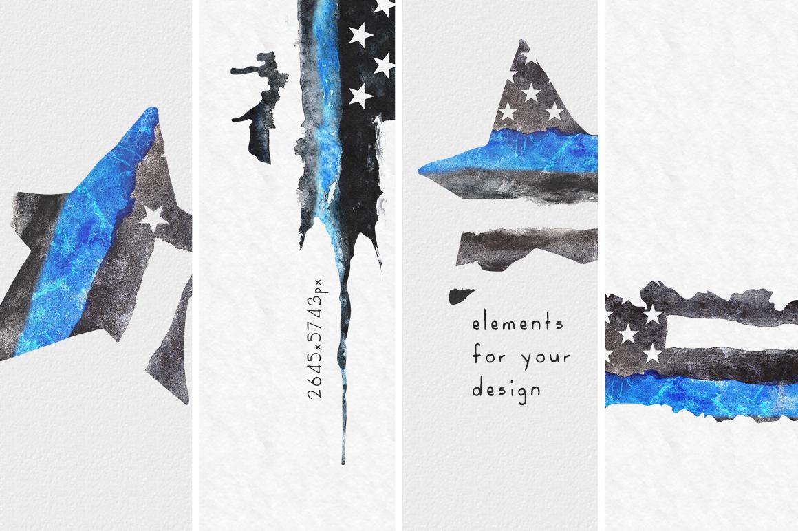 Police flag USA. Watercolor. example image 3