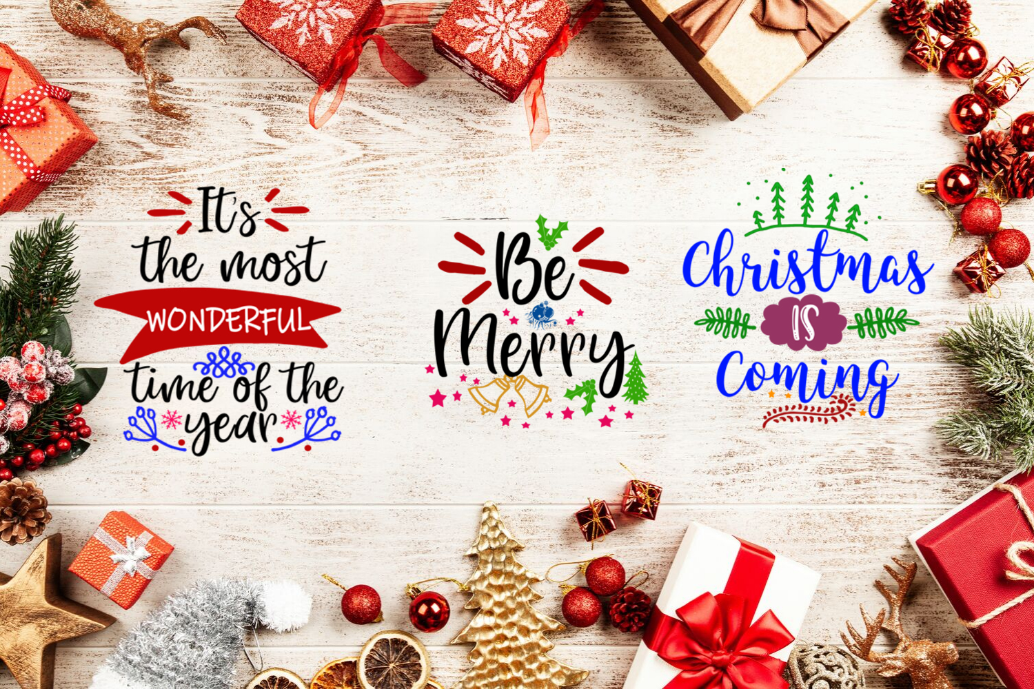 Christmas Quotes Overlays- Text Overlays-Holiday Clipart example image 3