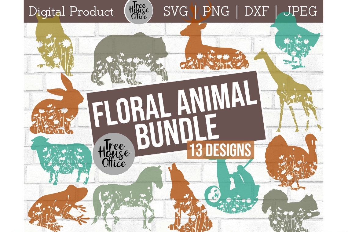 Floral Animals Wildflower Nature Forest Flowers SVG PNG DXF example image 1