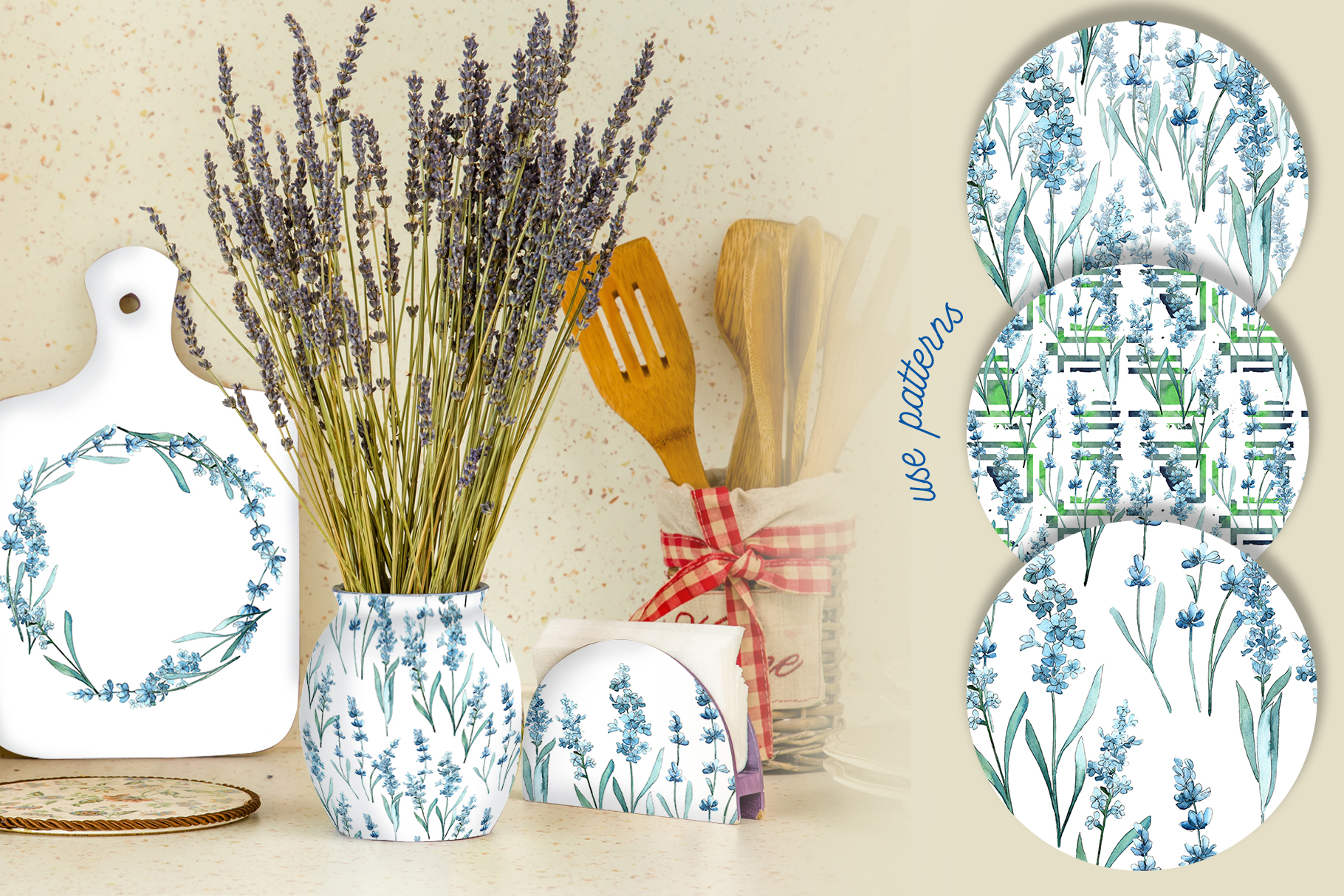 Scented lavender PNG watercolor flower set example image 2