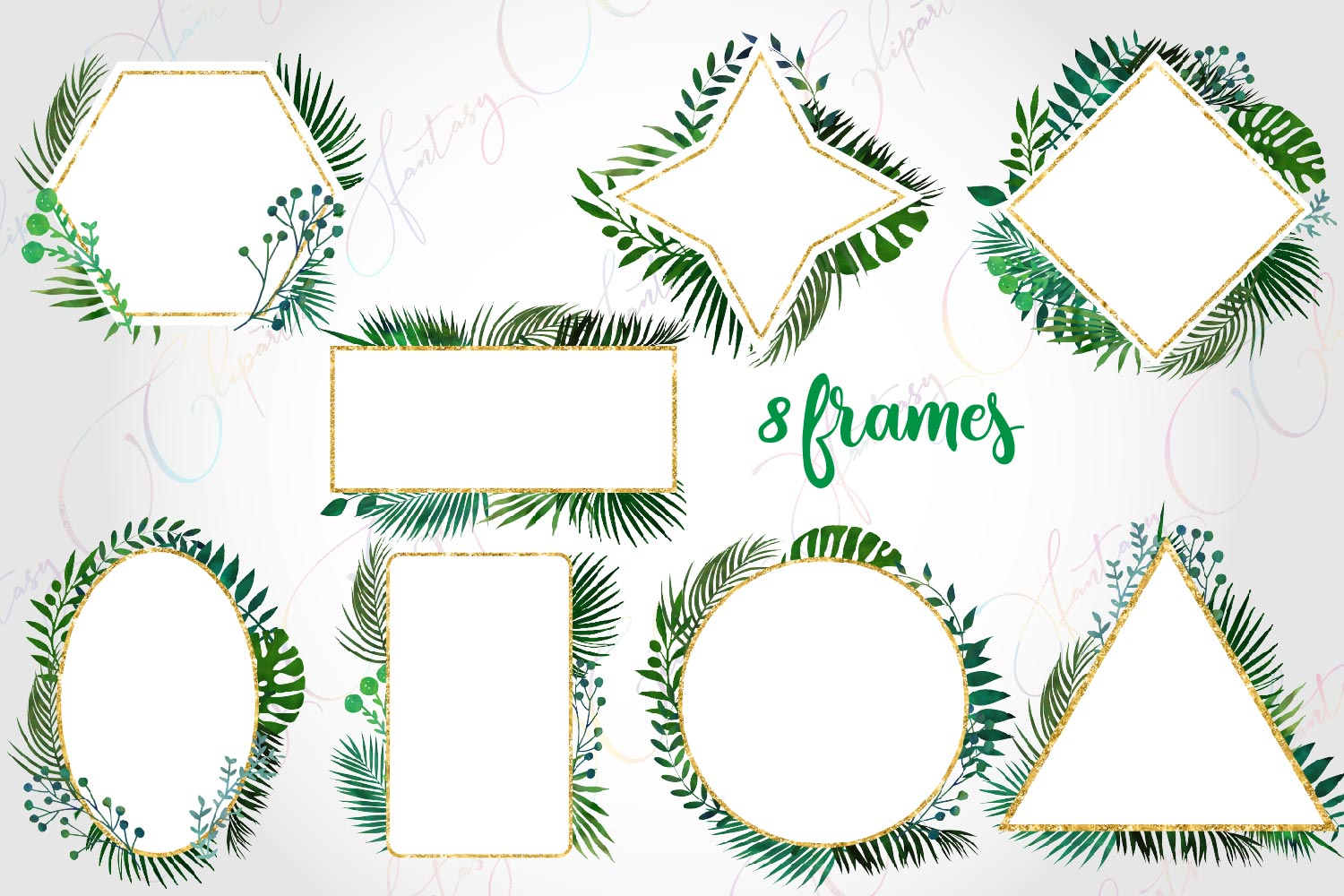 Watercolor Greenery Frames and Borders Clipart example image 2