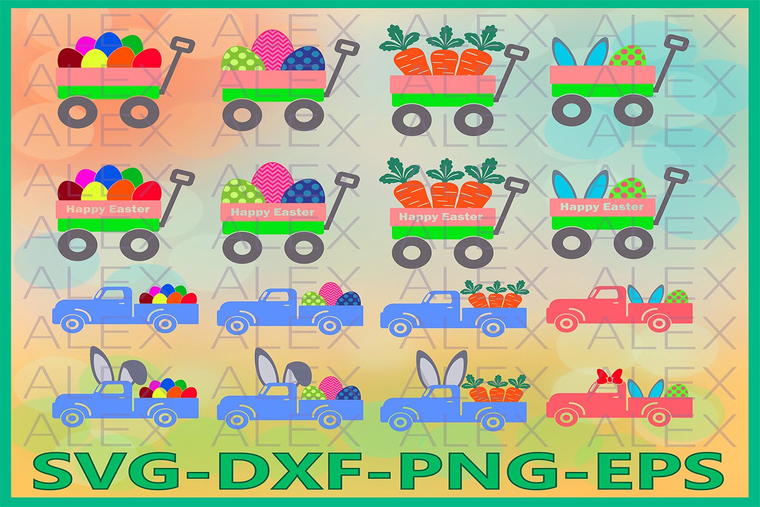 Easter Truck Svg, Easter Bunny Truck Svg, Easter Wagon SVG example image 1