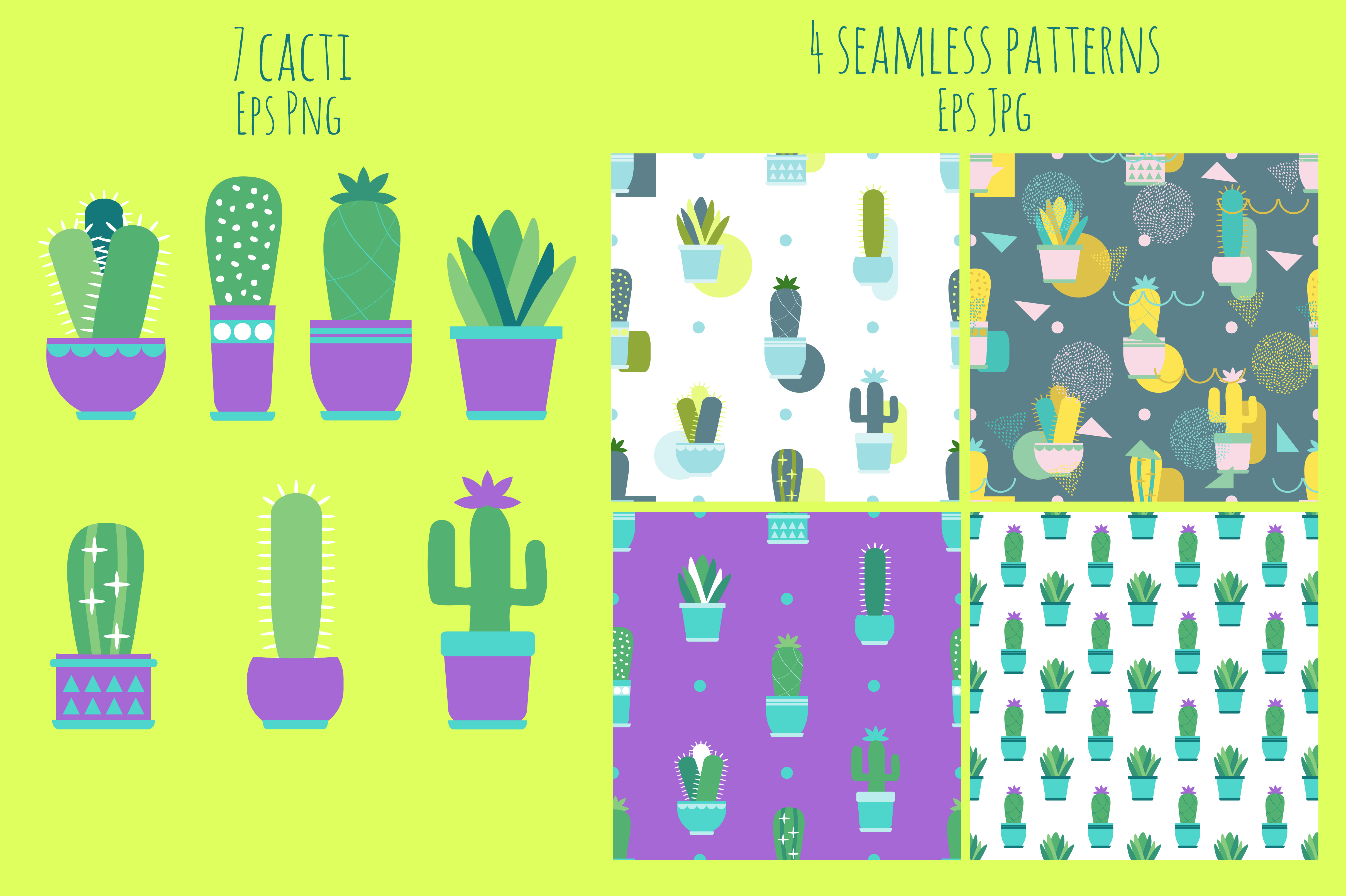 Cacti clipart set + Vector, Scandinavian style example image 2